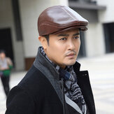 First Layer Cowhide Leather Hat Men's Fashion Beret Hats Beret Caps