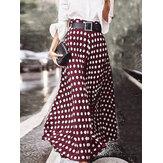 Polka Dot Print cintura alta Side Zipper elegantes soltas Maxi saias