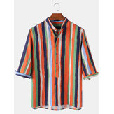 Mens Colorful Stripe Print Cotton Breathable Half Sleeve Henley Shirts
