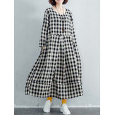 Damen Baumwollkariertes langes Maxikleid Kleid