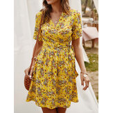 Cross Wrap Floral Print Bandage Short Sleeve Dress