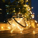 LED Solar Güç Crackle Top şeklinde Mason Kavanoz Bakır Tel Outdoor Veranda Ağacı Dekor için Asılı Işıklar