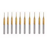 Drillpro 10pcs 0.8mm Titanium Coated Engraving Milling Cutter Carbide End Mill Rotary Burr