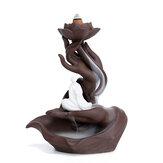 Porta bruciatore di incenso di riflusso Coni a cascata Censer Fumo in ceramica Decor + cono