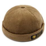 Erkek Kadife Ayarlanabilir Katı Fransız Brimless Şapka Retro Takke Denizci Şapkası