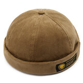 Herren Cord verstellbar solide Französisch randlos Hut Retro Skullcap Sailor Cap