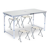 120x60cm Portable Aluminum Alloy Folding Table Chair Height Adjustable Indoor Outdoor BBQ Camping Picnic Table Kit