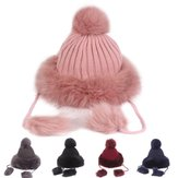 Vintage Women Artificial Rabbit Fur Knit Hat Beanie Cap
