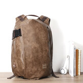 Men Vintage USB Charging Port Faux Leather Large Capacity Backpack Travel Bag