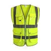 Green Unisex High Visibility Reflective Multi Pockets Construction Safety Vest