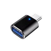 HCJTWIN USB3.0 à type-C adaptateur convertisseur connecteur alliage d'aluminium avec lampe respiratoire pour véhicule téléphone portable