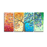 4pcs Canvas Print Painting Wall Decor Four Seasons and Trees Wall Hanging Decorative Art Pictures Frameless for Home Office