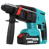 288VF Multifunctional Electric Demolition Jack Hammer Impact Drill Concrete W/ 2pcs Battery