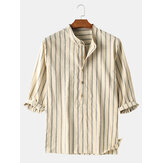 Mens 100% Cotton Striped Henley Collar Mid Sleeve Shirts