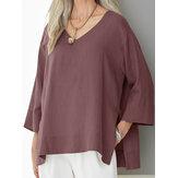 Kadın Düz Renk V Yaka Üç Çeyrek Kol Bluz
