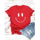 Women Casual Cartoon Smile Printed Short Sleeve O-neck T-Shirt