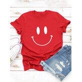 Camiseta de manga corta con estampado de sonrisa informal de dibujos animados para mujer