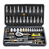 46 Sztuk Tool Box Zestaw do naprawy motocykli Zestaw narzędzi ręcznych Home Service Zestaw do samodzielnego montażu kluczy nasadowych
