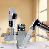 Kitchen Sink Mixer Faucet Pull Out Sprayer Tap Bathroom Dual Water Spouts 360 Degree Swivel