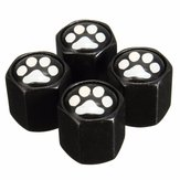 4Pcs Aluminum Alloy Footprint Pattern Car Wheel Tire Valve Stem Covers Caps Black
