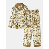Women Cotton Cute Cartoon Print Long Sleeve Elastic Waist Home Casual Pajama Set