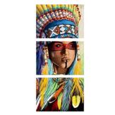 3 قطع قماش طباعة اللوحات الهندية فتاة النفط اللوحة جدار الفن الطباعة الزخرفية صورة فرملس المنزل مكتب الديكور