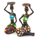 2Pcs Resina Figurine Craft Candlestick Mulheres Africanas Beauty Lady Statue Hardware Decorativo