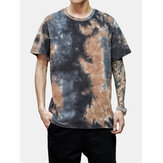 Tie-Dye Cotton Mens Camisetas de manga curta respirável