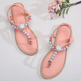 Women Beading Decor Elastic Flat Slip On Beach Clip Toe Sandals
