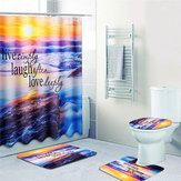 Sandy Playa Impermeable Cuarto de baño Cortina de baño Cubierta de inodoro Alfombra antideslizante Juego de alfombras