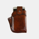 Men Genuine Leather Retro Small Phone Bag Solid Color Belt Bag Waist Bag
