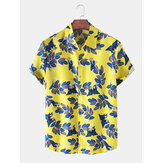 Mens Leaves Print Button Up Hawaii Casual Short Sleeve Shirts