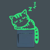 Sleeping Cat Creative Luminous Switch Sticker Removable Glow In The Dark Wall Decal Home Decor