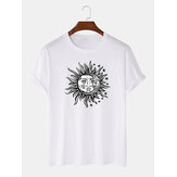 Heren zon cartoon print ronde hals korte mouw t-shirts