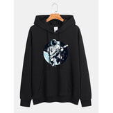 Men Cartoon Astronaut Print Kangaroo Pocket Long Sleeve Casual Hoodies