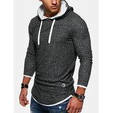Sudaderas con capucha casuales de manga larga de color sólido para hombre