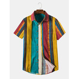 Mens Casual Cotton Linen Respirável Colorful Camisas listradas