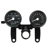12V Motorcycle LED Backlight Odometer Tachometer Speedometer Dual Gauge Meter With Bracket Universal