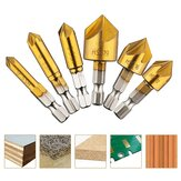 Drillpro 6Pcs 6-19mm Countersink Drill Bit 5 Flutes Hex Shank Titanium Coated Chamfer Cutter Set