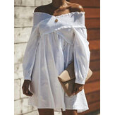 Pure Color Off Shoulder manga larga Summer Holiday Mini Vestido