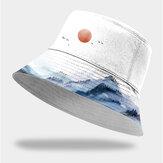 Unissex Algodão Moda Paisagem de Outono Pintura com Tinta Chinesa Sol Chapéu Balde para guarda-sol Chapéu para homens