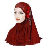 Women New Ice Silk Side Three Flower Tassels Arabian Hat