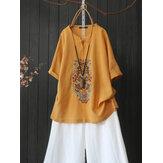 Женская хлопковая вышивка с половиной рукава с передней пуговицей Винтаж Повседневная блузка