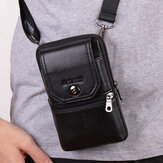 Men Genuine Leather Belt Bag Crossbody Bag 6 inch Phone Bag Waist Bag Belt Bag