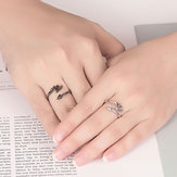 Vintage Open Couple Ring Retro Angels Demons Adjustable Ring