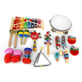 16pcs Kinder Percussion Set Kinder Holz Kleinkind Musikinstrument Spielzeug Band Early Educational Puzzle Toy für Babys