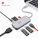 BlitzWolf® BW-TH5 7 en 1 Hub de données USB-C avec lecteur de carte TF USB 3.0 à 3 ports USB-C PD de charge 4K Display Hub USB pour ordinateurs portables MacBooks