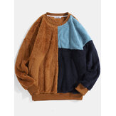 Mens Color Block Patchwork Fluffy Plush Loose Pullover Teddy Sweatshirts
