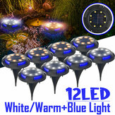 12LED Solar Ground Light Blue + White / Blue + Warm White Pathway Garden Lawn Lamp Iluminação de deck externo