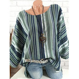 Women Casual Striped Crew Neck 3/4 Sleeve Blouse